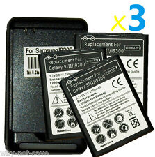 3 replacement Internal battery and Wall USB Charger for Samsung Galaxy s3 i9300