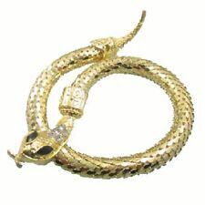 Punk goth motociclista forma oro spirale serpenti aperto bracciale a polsino