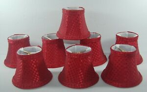 """EIGHT BEAUTIFUL CHANDELIER LAMP SHADES - RED SILK WEAVE - 4"""" CLIP ON"""