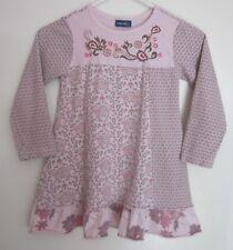 Naartjie 7 Dress Pink Floral Ruffle Grey Wood Beads Geometric Long Sleeve Girls
