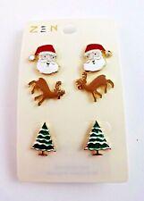 Christmas Earrings Santa Reindeer Christmas Tree 3 Pairs