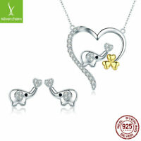 Cute Elephant Real New 925 Sterling Silver Stud Earrings Necklace CZ Jewelry Set