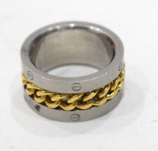 Ring Stainless Steel Etched Brass Chain Band Ring