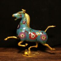 "9"" Chinese old antique bronze Cloisonne colour enamel Horse statue"