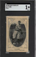 TY COBB 1922 NIELSON'S CHOCOLATE SGC 1 NEW LABEL!🔥RARER / T206 ! Extremely RARE