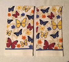 2 BUTTERFLIES Floral Flowers Garden Butterfly Printed Kitchen Towels
