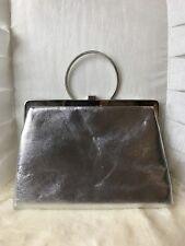 Women's Vintage 1960's Silver Joseph Magnin Mod Clutch Purse, Pre-Owned