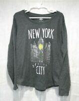 Girls Youth long sleeve gray shirt size Medium 8 Old Navy New York City