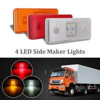 12V 4 LED Side Marker Lamp Lights Amber/Red/White Trailer Truck Clearance Lamp