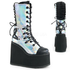 Demonia SWING-120 Women's Silver Hologram Black Leather Laced-up Mid-Calf Boots