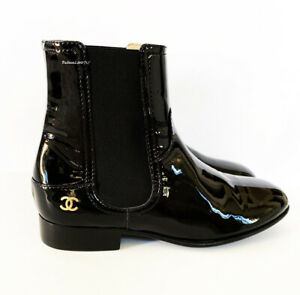NIB $1175 16A CHANEL BLACK CC PATENT LEATHER ANKLE BOOTS FLAT BOOTIES 37 6