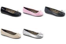 PLEASER Pink Label Anna-01 Black Pink Cream Silver Ballet Flats Drag Womens 8-15