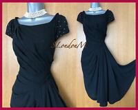 KAREN MILLEN 10 UK Black Embellished Beaded Draped Cocktail Party Work Dress 38
