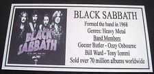 BLACK SABBATH  silver  Plaque Free Postage********