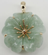 14K Yellow Gold Green Jade Enhancer Pendant Flower Circle 1.25""