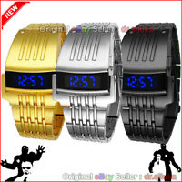 Men Digital Big Wristwatch Iron Man Style LED Display Watch Stainless Steel New