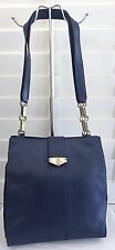 VINTAGE MARK CROSS NAVY BLUE LEATHER CHAIN HANDBAG PURSE ITALY