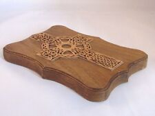 Wooden Celtic Cross Wall Plaque Crafted in Wales Sustainable Forest Carving