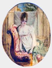 Antique Miniature Portrait of Madame Récamier after Francois Gérard Painting