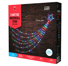 Christmas MULTICOLOUR Waterfall Star 200 LED Lights 3m Long 32cm Star Outdoor