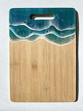 Blue Ocean Wave Cutting Board / Kitchen Decor / Cheese Serving Board
