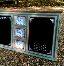 Large Shabby Chic Notice Memo Board Calendar & Photo Frame Chalk-board