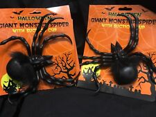 Halloween 2 X Gaint Monster Spiders Witg Suction Cup - New