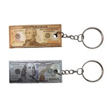 3D Magnet Mini Small $1000 & $10,000 Dollar Bill Key Chain Ring US Souvenir Gift