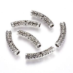 10pcs Tibetan Silver  Hollow Filigree Metal Tube Metal Beads Curved Spacers 38mm