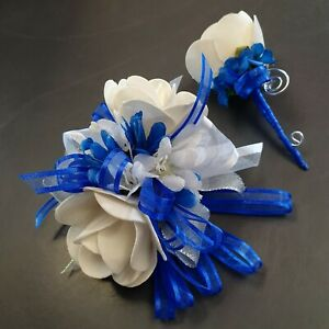 Royal Blue White Rose/silver   Wrist Corsage /Boutonniere wedding flowers