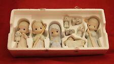 1987 9 pcs Precious Moments Nativity Figurine COME LET US ADORE HIM
