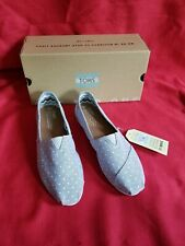 Toms Chambray Polka Dot Slip On Shoes Size 9 New