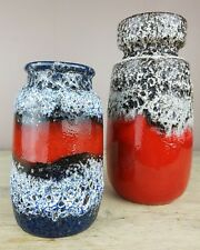 Pair FAT LAVA West German vases by Scheurich  in similar glazes 22 & 13cm