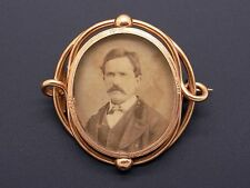 Estate Ornate Antique Mourning 14k Yellow Gold Photo Picture Frame Brooch Pin