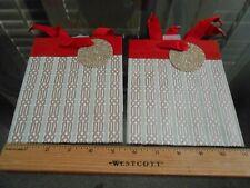 🎅 2 new Hallmark Christmas Small Gift Bags w/ glitter name tags ribbon handles