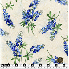 Quilting Fabric Blue Bonnet Lupin Flowers 100% Cotton END OF ROLL 34cm x 112cm