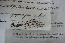 De Saint ALLAIS. Signature à M. de Polignac. NOBILIAIRE UNIVERSEL de France.1816