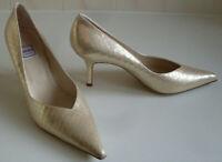 RENATA Italian Gold Leather Iridescent Pump Heels Court Shoes Size EU 41 UK 8