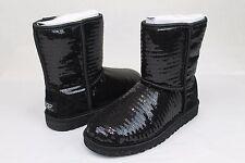 UGG AUSTRALIA CLASSIC SHORT SPARKLES BLACK SEQUIN SHEEPSKIN BOOTS SIZE 8 US