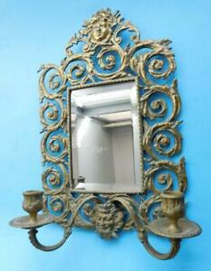 Antique Pierced Brass Wall Mirror with 2 Sconce Candelabra 1800s Girandole