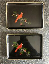 Otagiri Japan Lacquerware Black Serving Tray Set Red Cardinal On Berry Branch