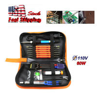 60W Adjustable Electric Temperature Welding Soldering Iron Tool 8 In 1 Kit 110V