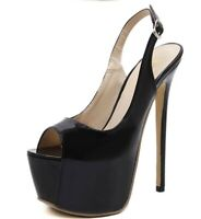 Ankle Strap Platform Slingbacks Patent Leather High Stiletto Heel Womens Shoes