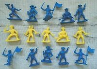 15  BLUE & YELLOW  PLASTIC PIRATE FIGURES