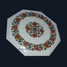 "12"" White Marble Center Table Top Hakik Malachite Inlay Carnelian Floral Work"