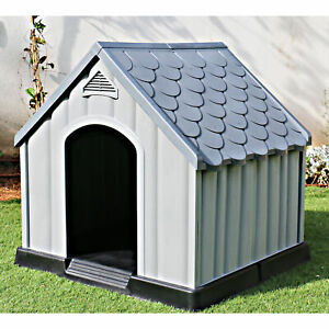 Ram Quality Products Outdoor Pet House Large Waterproof Dog Kennel Shelter, Gray