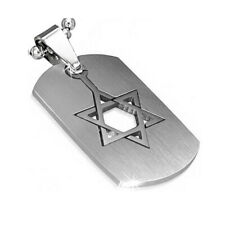 Stainless Steel Silver-Tone Religious Jewish Star of David Pendant Necklace