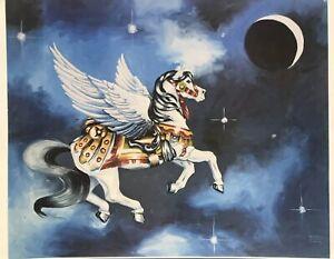 Vintage Elizabeth Maxwell Dewar Unicorn Painting Print Poster Horse 80s 90s Art