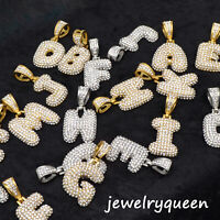 "Initial Bubble Letter Gold Silver Plated Iced Pendant 20"" Rope Chain Necklace"