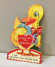 Vtg Valentine Card Yellow Duck Monicle Blue Vest Fold Out